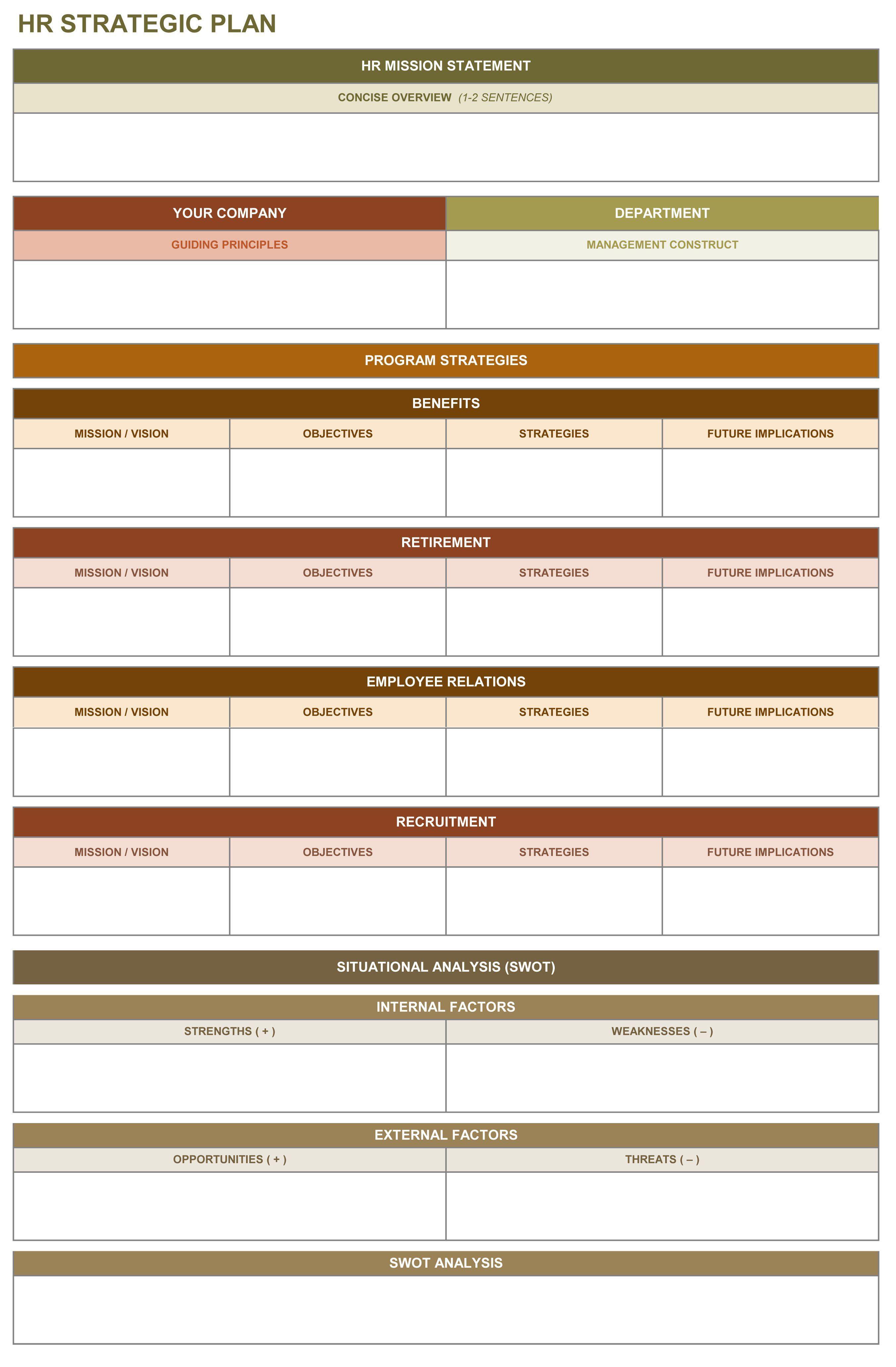 Hr Strategic Plan Excel Template