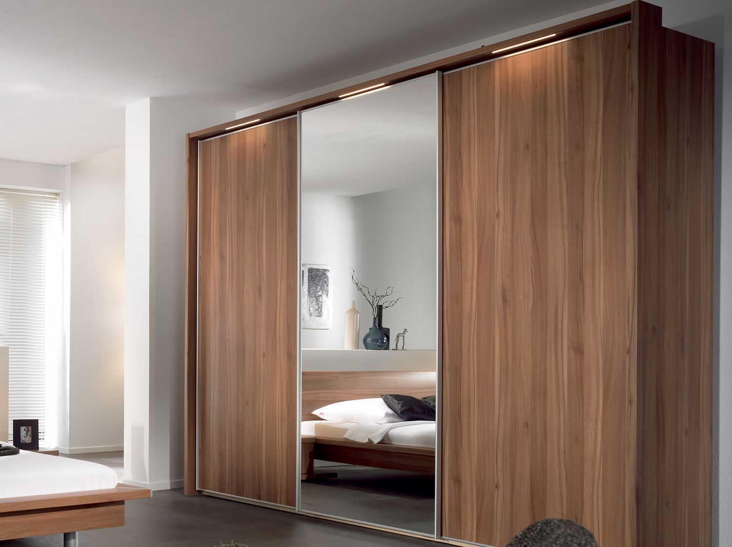 Furniture, Sliding Wardrobe Designs With Mirror For