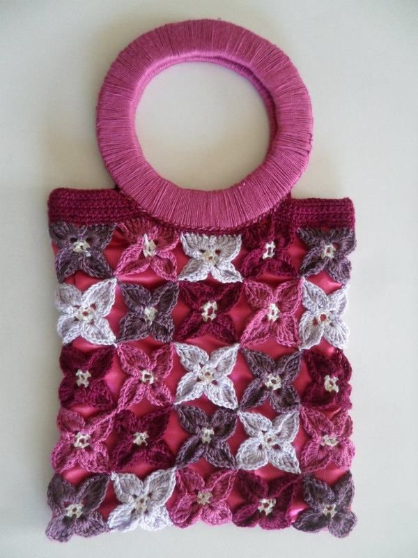Free pattern colourfull Flower bag