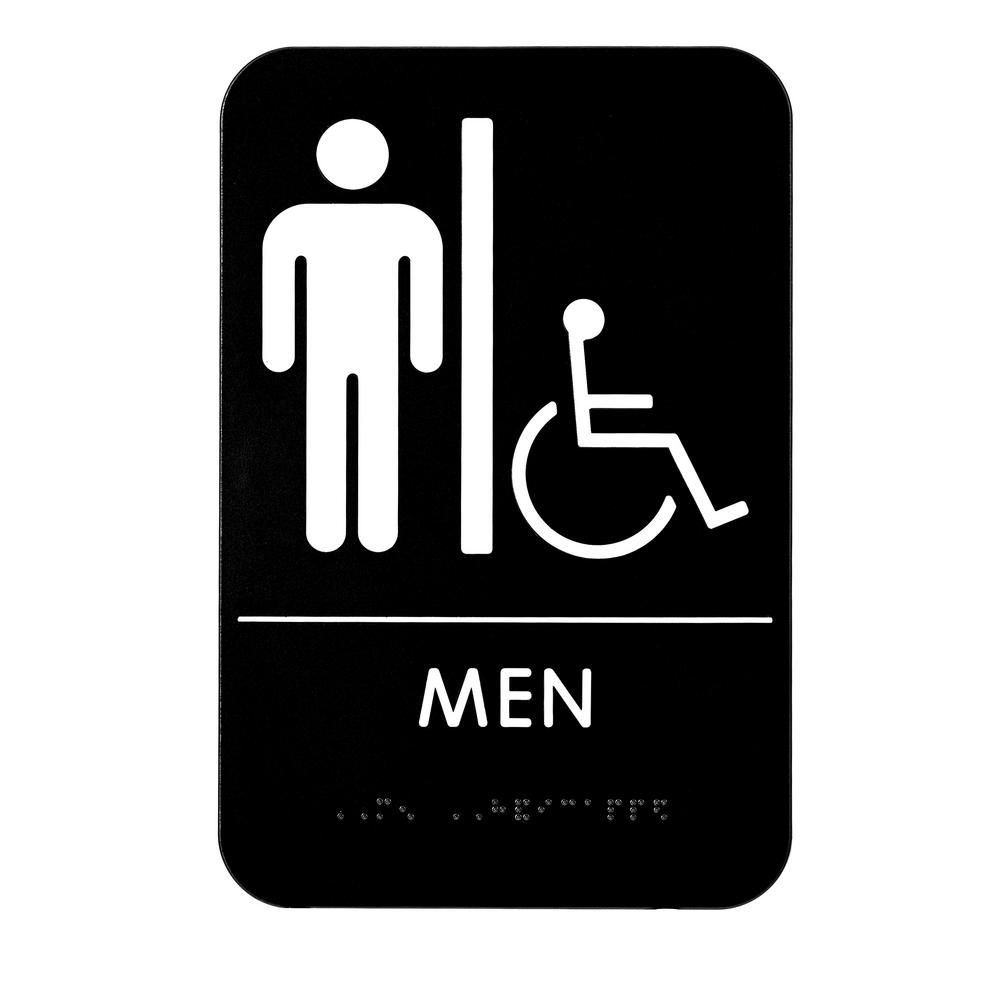 Alpine Industries 9 In X 6 In Men Braille Handicapped Restroom