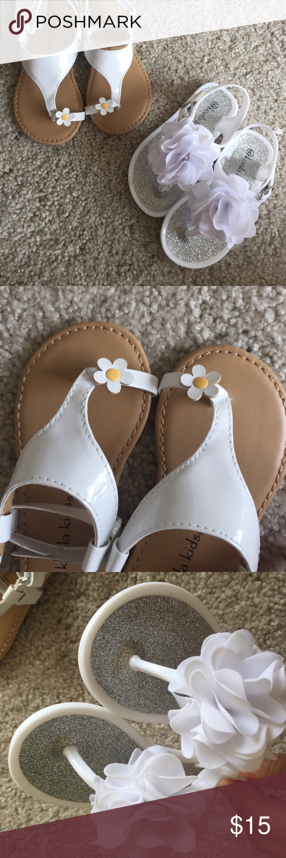 2 Infant size 6 sandals bundle Never worn new. Both size 6 infant girl. In perfect new condition. White flower sandals are jelly shoes. No trade. Price firm Koala Kids Shoes Sandals & Flip Flops
