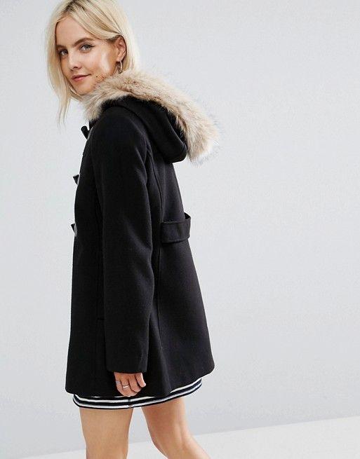 ASOS PETITE Duffle Coat with Faux Fur Hood in black | Petite ...