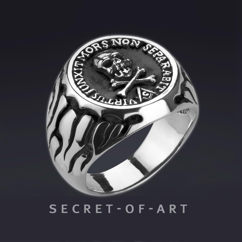 Masonic Ring Silber 925 Sterling Silber, Skull and Bones