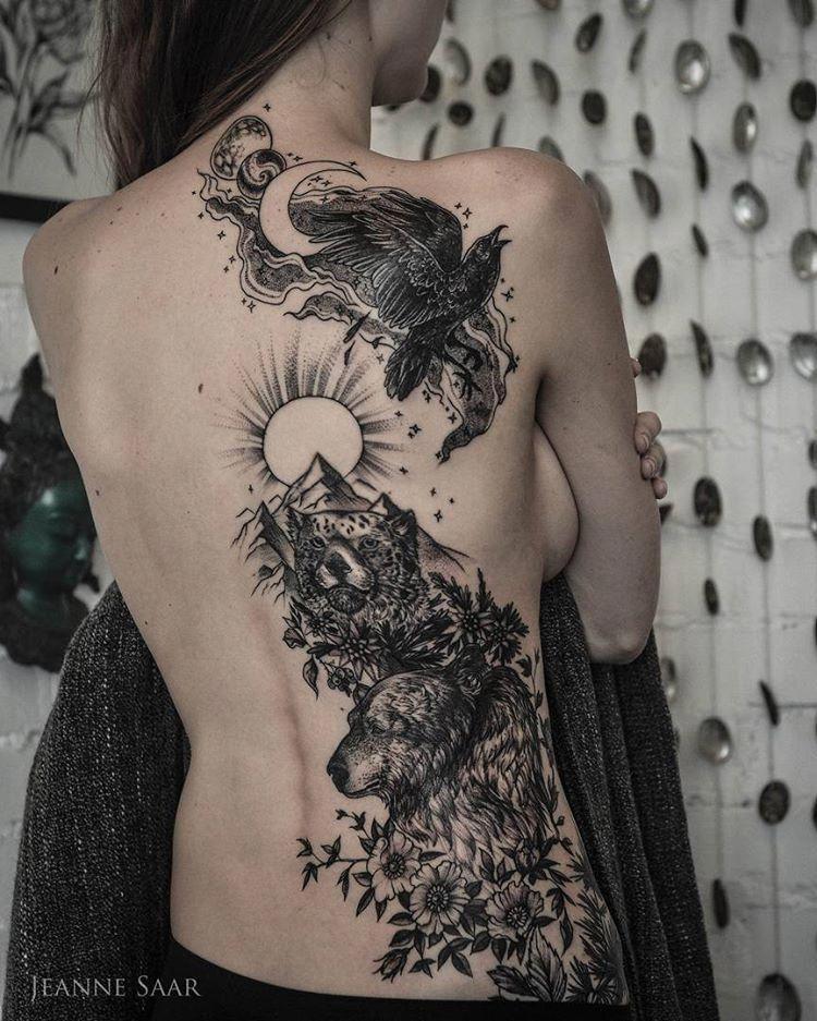 Mountain Bear Tiger Raven Moon Back Tattoo Tattoo For Women Tattoosonback Back Tattoo Back Tattoo Women Tattoos For Women