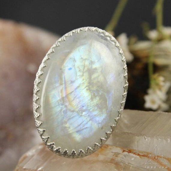 Anillo de arco iris Moonstone ring  anillo de plata esterlina