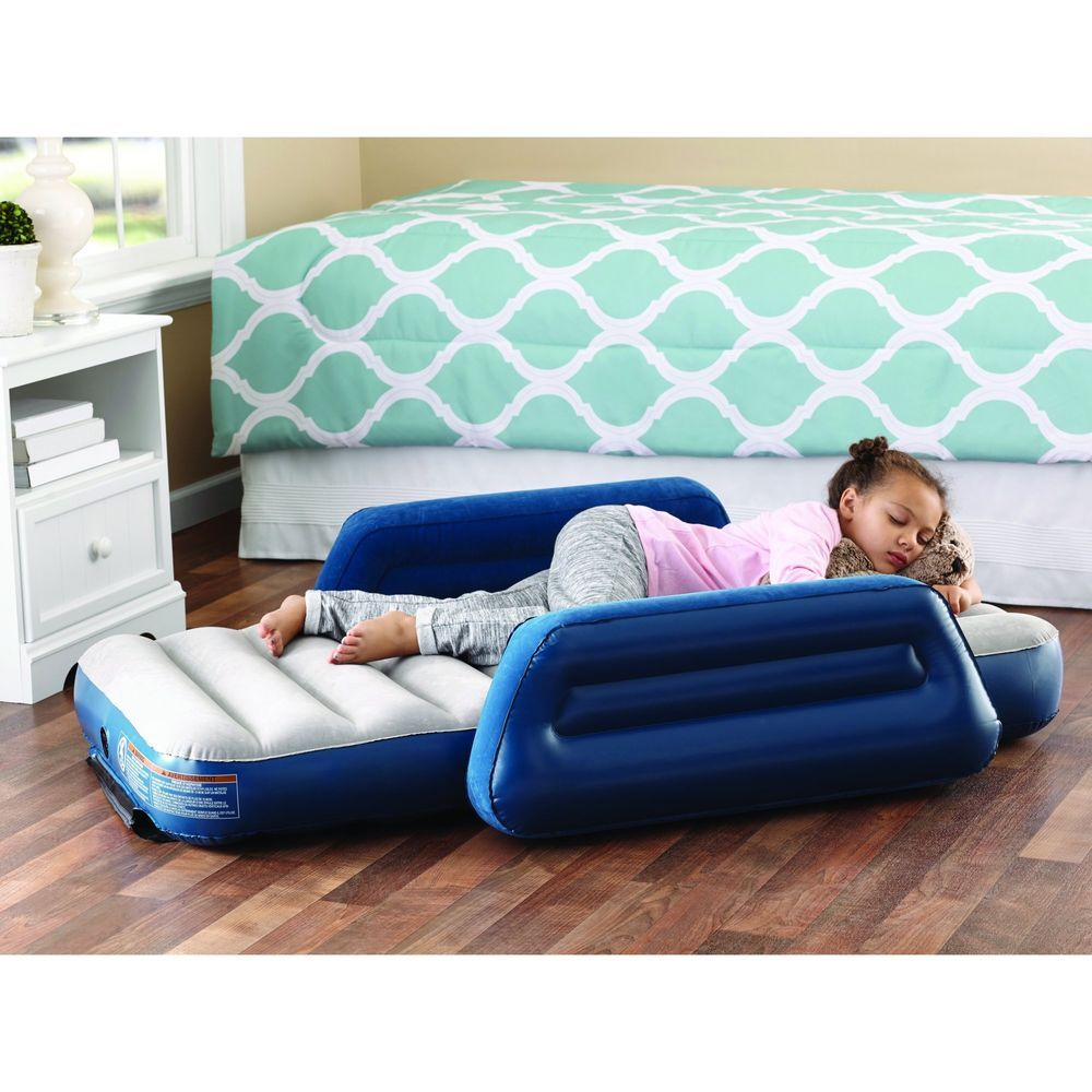 Kids Inflatable Air Mattress Camping Airbed Side Bed Rail Armrest W Travel Bag Ozarktrail Kids Travel Bed Sleeping Bags Camping Toddler Travel Bed
