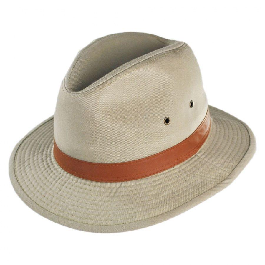1ef49fe1fea Dorfman Pacific Packable Washed Twill Safari Fedora Hat