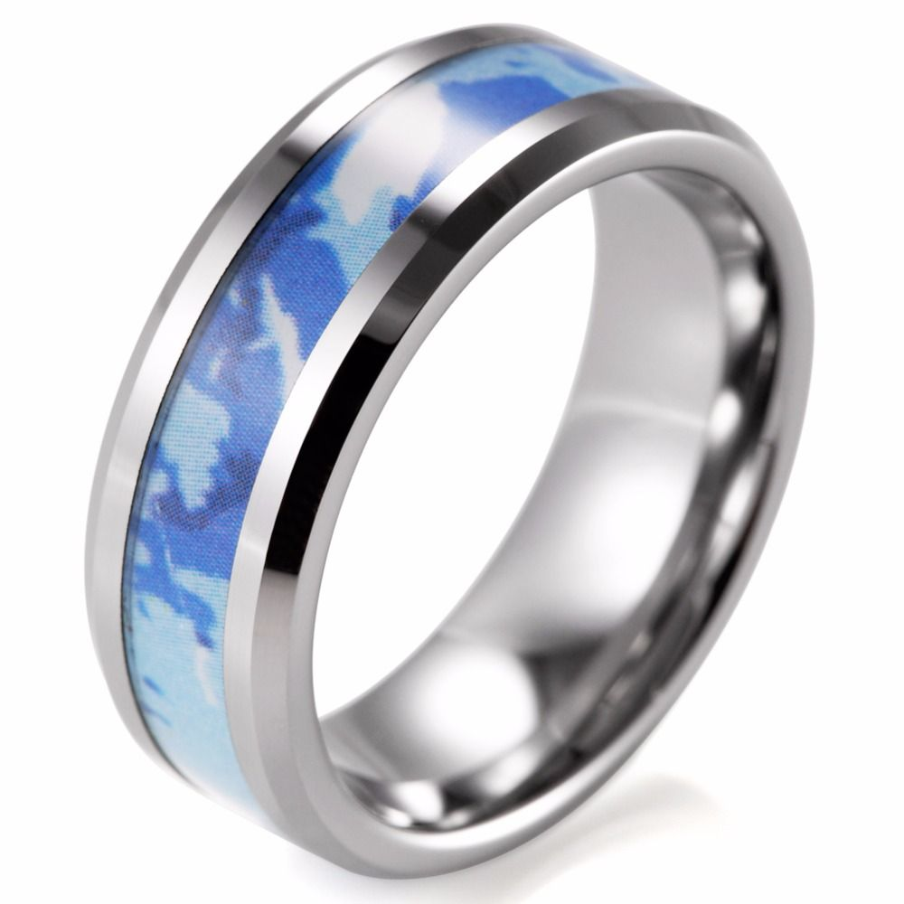 Show Off Your Love Of Camo With This Tungsten Carbonite Ring Inset