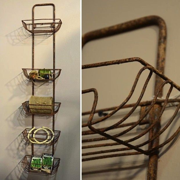 Wire Wall Hanging Baskets tall rustic metal wall basket hanger | metal walls, wall racks and