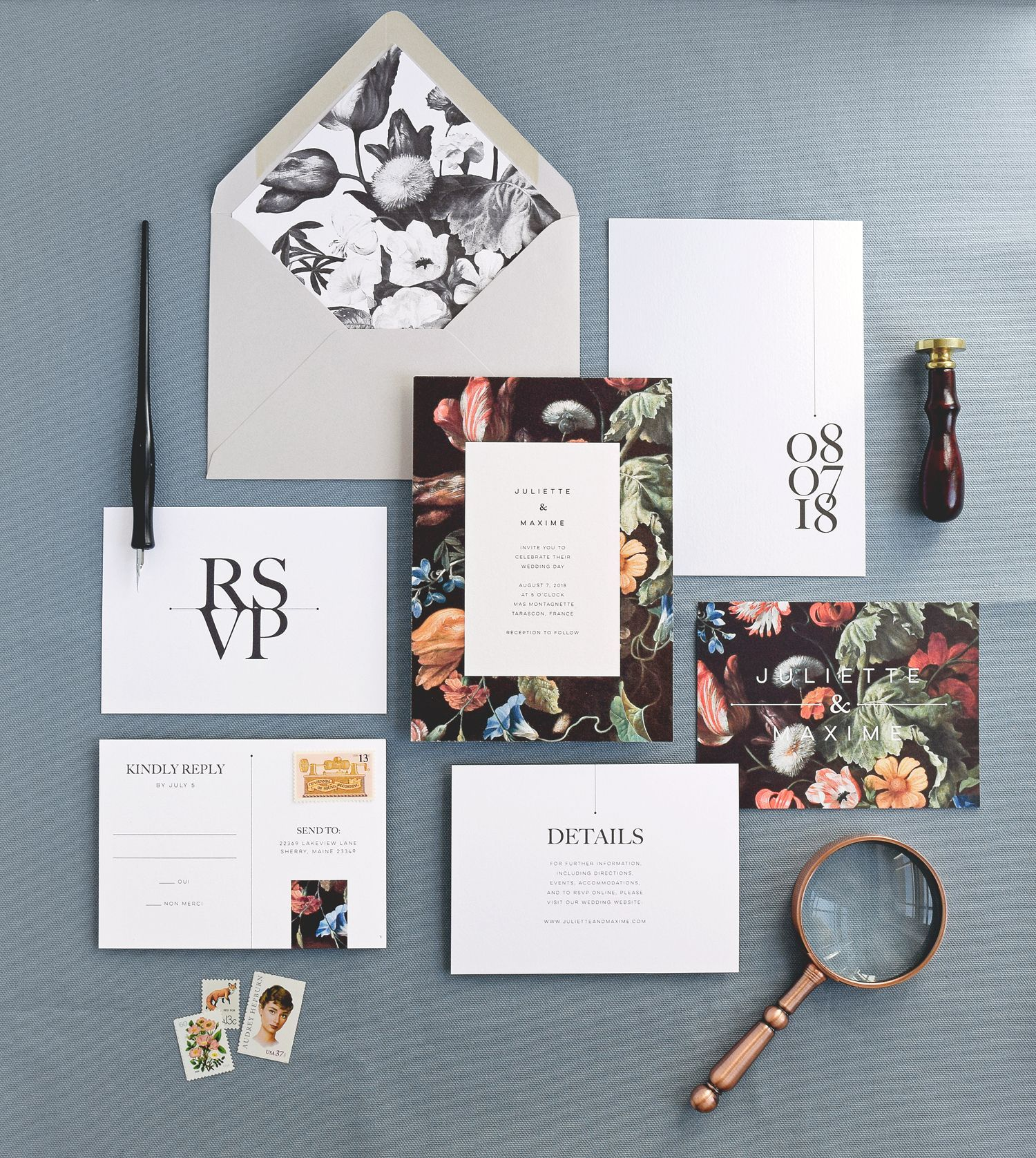 Modern Wedding Invitation Card And Envelope With Liner Rsvp Card Info Card Floral Wedding Invitation Design Modern Wedding Cards Modern Wedding Invitations