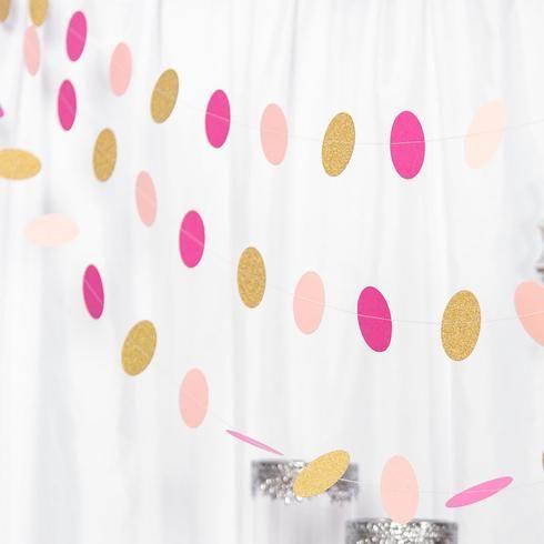 Set of 3 - 90 Long Circle Dot Party Paper Garland, Streamer Backdrop Hanging Decorations - Blush,Hot Pink,Glitter Gold