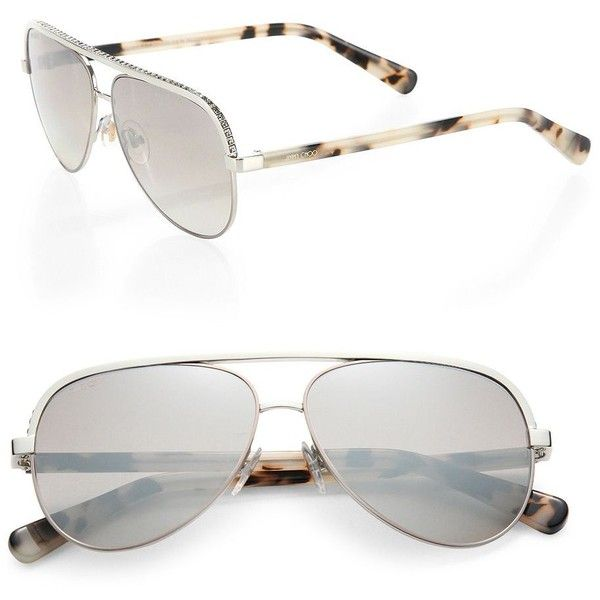 29bdc87e0500 Jimmy Choo Linas 59MM Metal Aviator Sunglasses (638 CAD) ❤ liked on  Polyvore featuring accessories