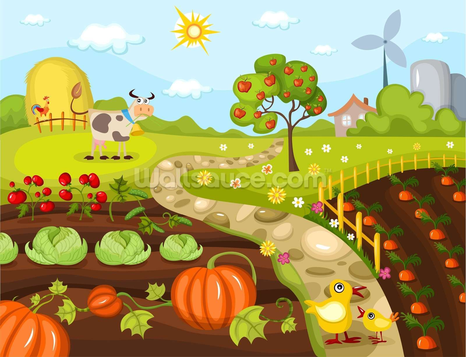 Harvest Time Wallpaper Wallsauce Us In 2021 Garden Clipart Farm Images Illustration