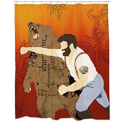 Hipster Lumberjack Guy Fighting A Bear On A Shower Curtain