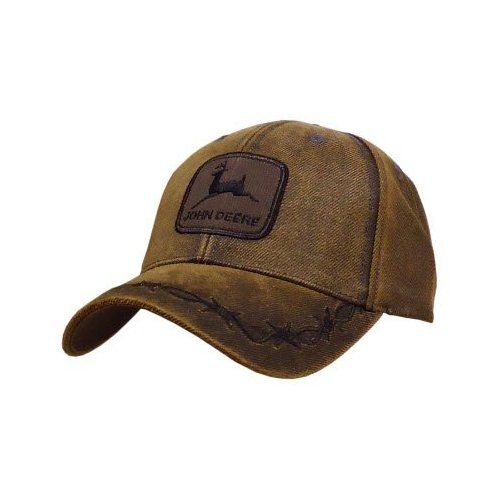 92f221a0105 John Deere Oilskin Patch Hat Brown  Amazon.com  Clothing