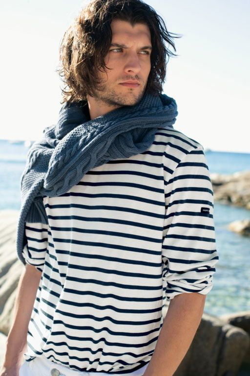 Cream navy blue breton shirt striped for men women saint for Striped french sailor shirt