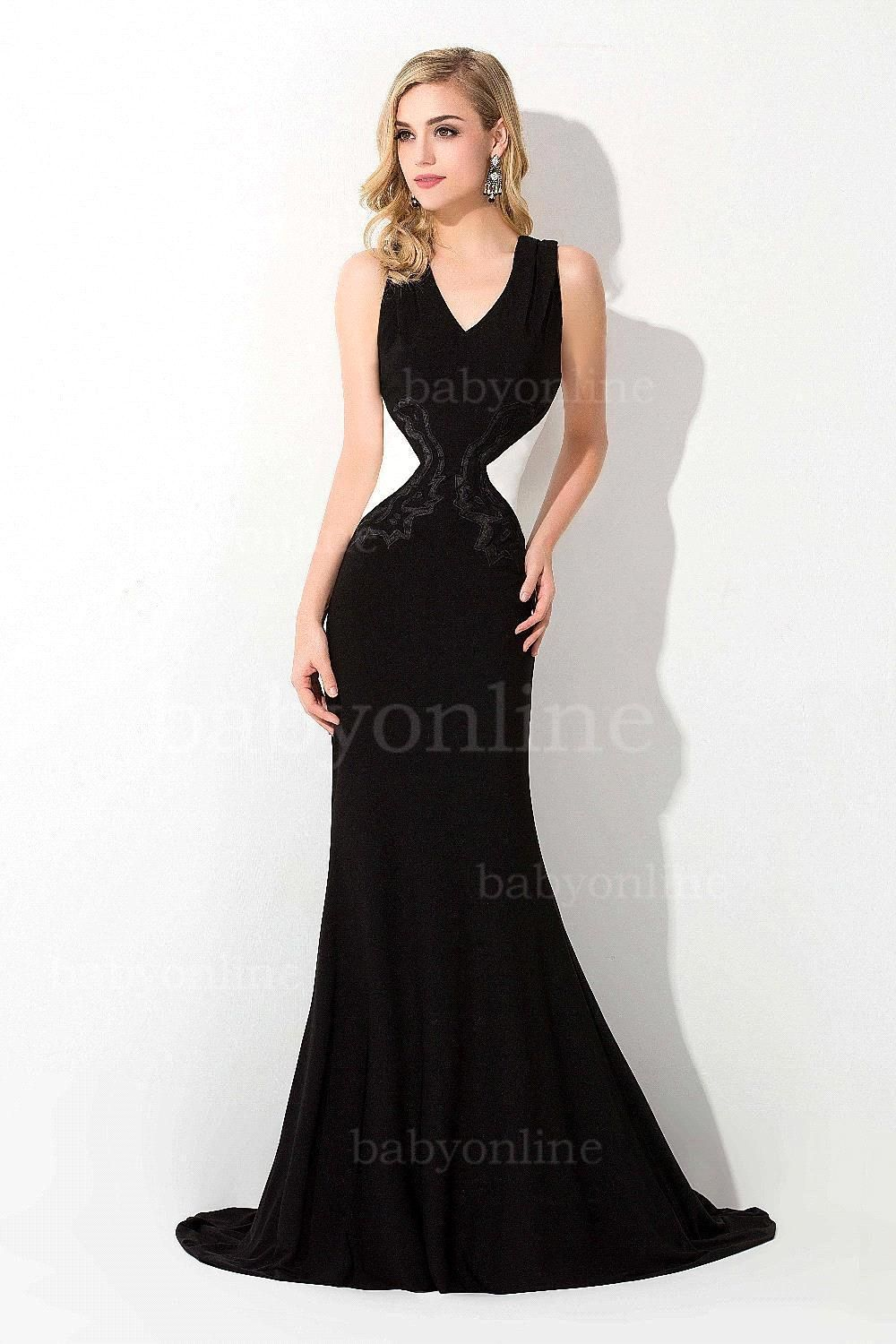 f922b0725eacc Formal Black And White Evening Gowns Backless Mermaid Evening Dress 2015  Elegant Long Prom Dress Vestido