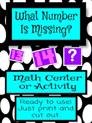 Freebie+Friday!++What+Number+is+Missing?+from+MissMathTeacher+on+ ...