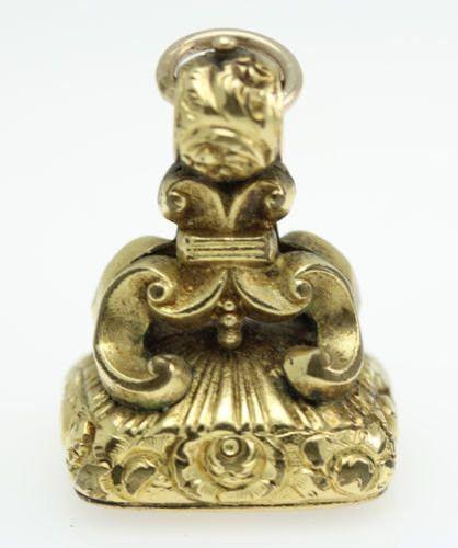 ESTATE Antique 14K Gold Intaglio Seal Pendant Charm