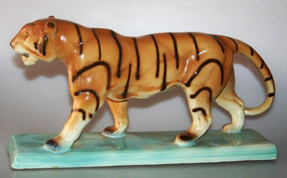 D Urbach Art Deco Czech Art Ceramic Huge Tiger Figurine Etsy Art Deco Pottery Art Art