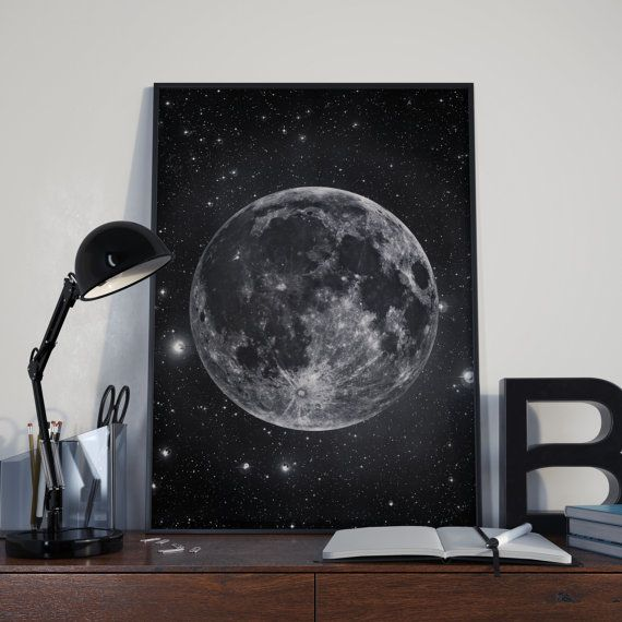 Moon and stars, Full moon art print, Astronomy poster, Black and white, Printable astronomy gift, Modern wall art decor, Luna print #coloringpagestoprint