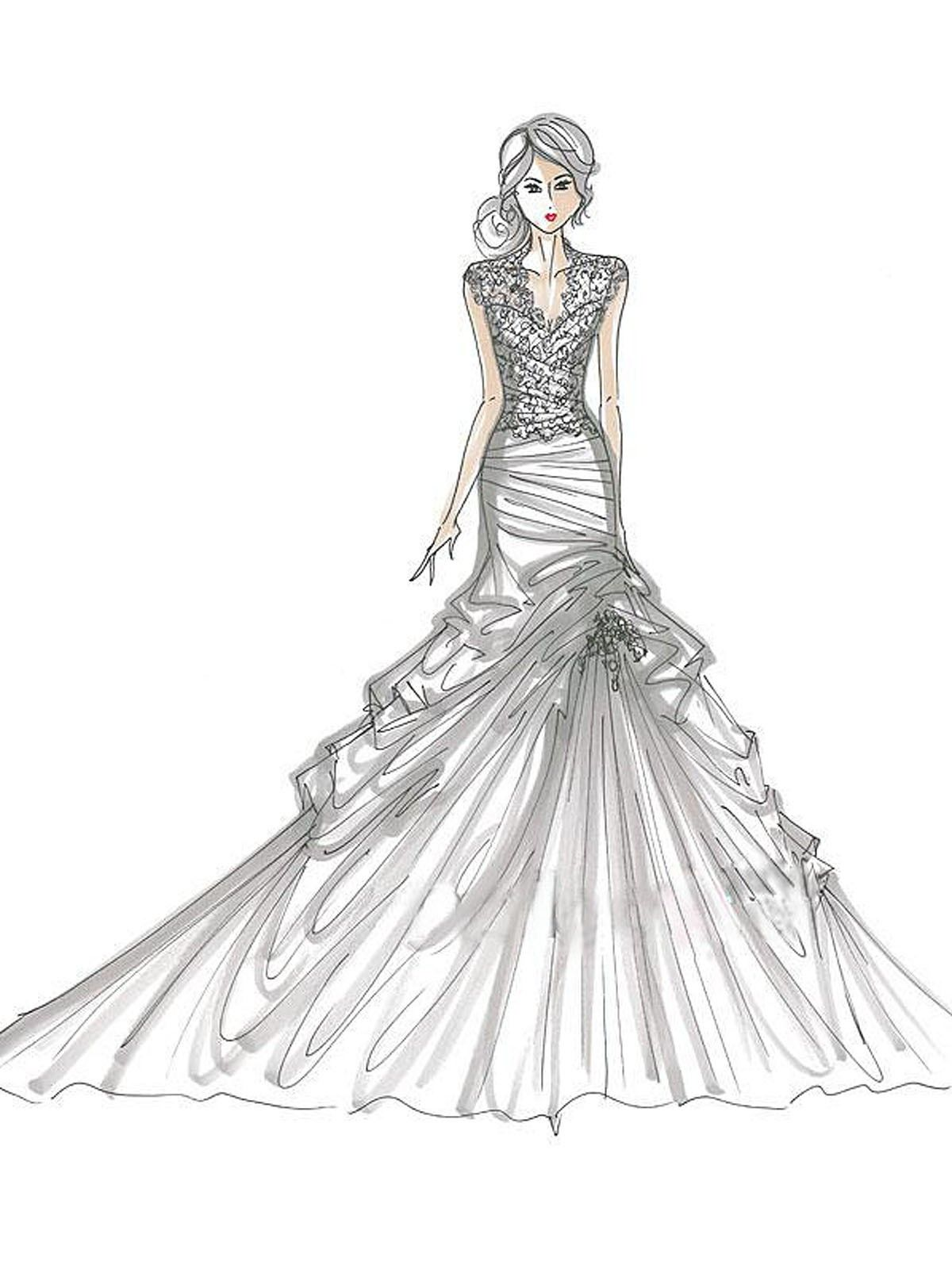 wedding dress coloring pages Of Wedding Dresses   Coloring Pages for Kids and for Adults  wedding dress coloring pages