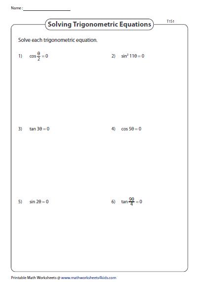 Solving Trig Equations - Type 1 | Trigonometry Worksheets ...