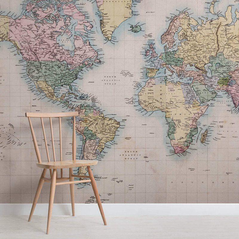 Light Vintage Map Collage Wallpaper Mural Map murals