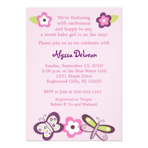Plum Butterfly Dragonfly Baby Shower Invitations Shower - how to make a baby shower invitation on microsoft word