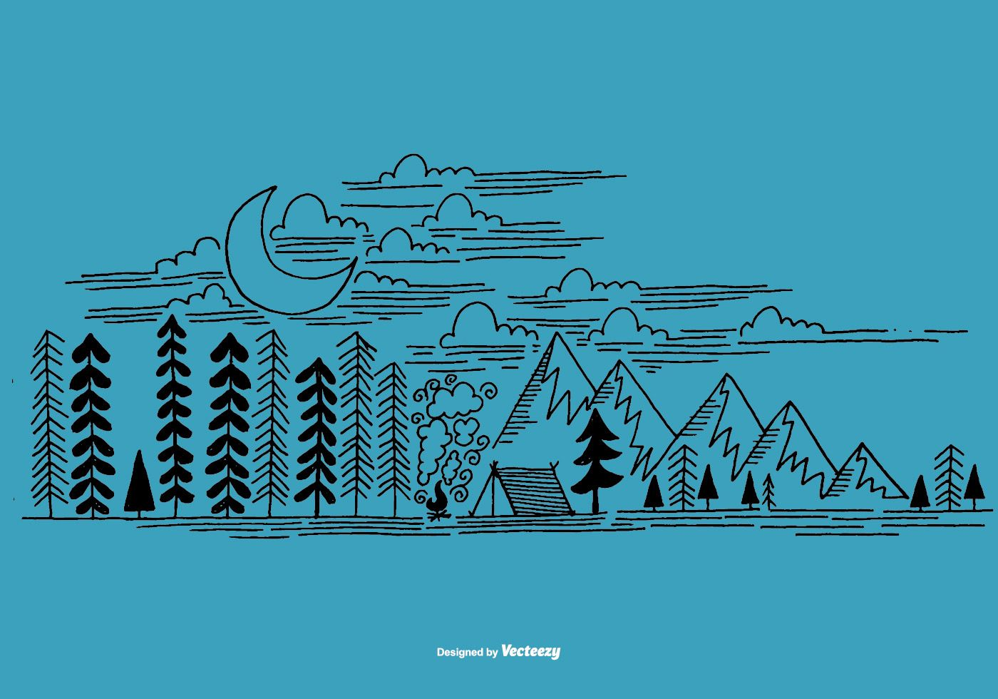 A hand drawn, line art camping scene. How to draw hands