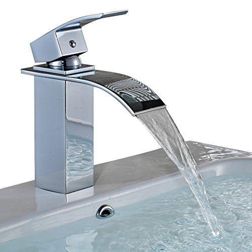 Single Handle Sink Mixer Tap Chrome for Vessel Sink AuraLum Waterfall Brass Bathroom Basin Faucet Brass Chrome