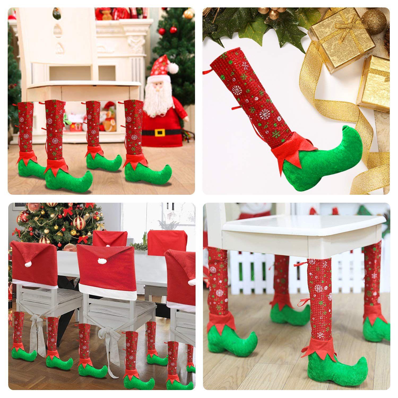4pcs Christmas Table Leg Covers Xmas Chair Socks Santa Feet Shoes Legs Slippers Table Chair Leg Co Christmas Chair Christmas Chair Covers Christmas Decorations