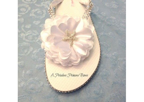 Wedding Flip Flops White Satin Flower Rhinestone Starfish Bridal Bride Bling Beach Sandals