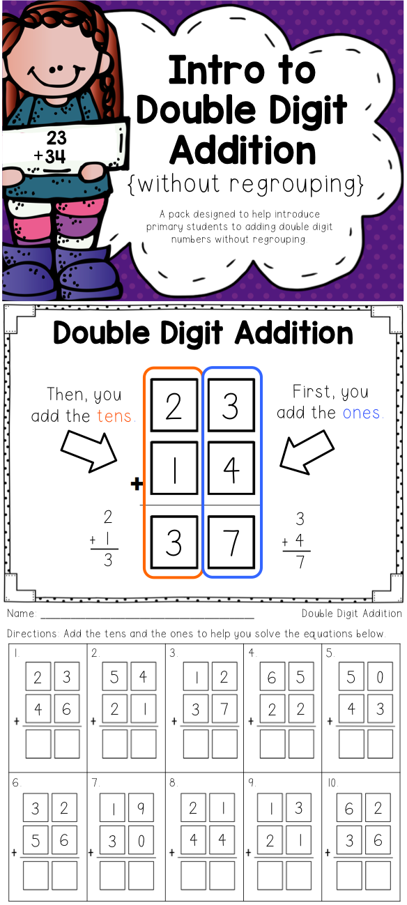 Double Digit Addition {Without Regrouping} | Pinterest | Kind