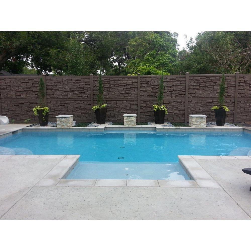 Simtek 6 Ft H X 6 Ft W Ecostone Dark Brown Composite Fence Panel Fp72x72dbr The Home Depot Indoor Pool Design Small Indoor Pool Swimming Pools Backyard