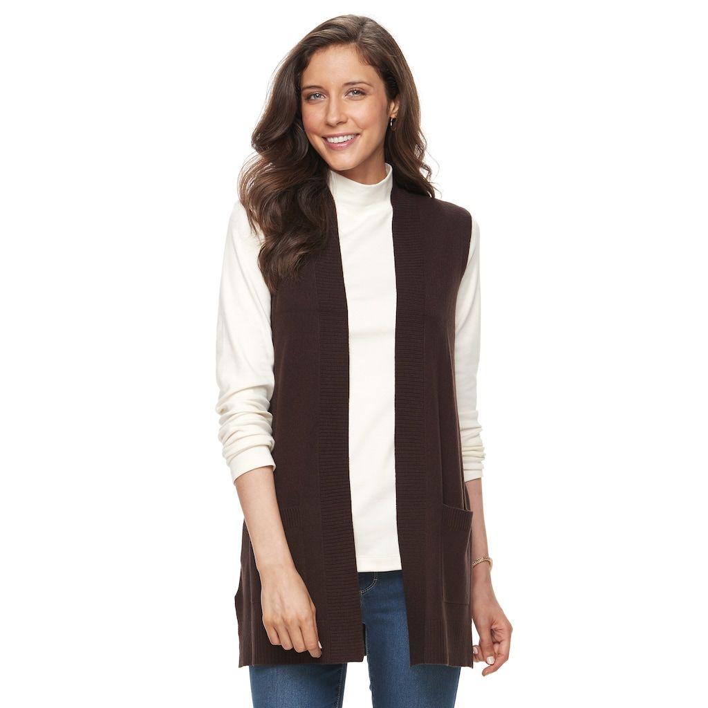 Women's Croft & Barrow® Open Front Long Vest, Size: XXL, Dark ...