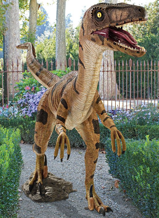 Jurassic sized Velociraptor Yard Statue Backyards Theater rooms