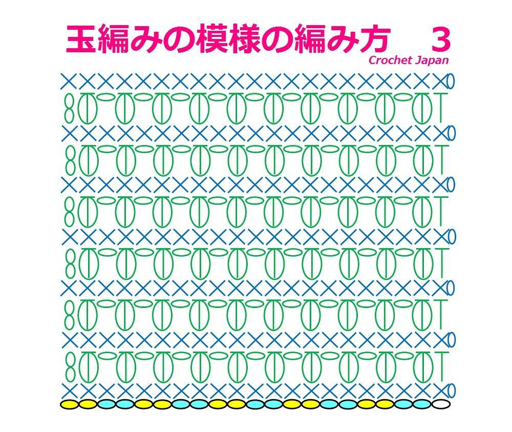 かぎ編み Crochet Japan : 玉編みの模様の編み方 3 中長編み3目の玉編み ...
