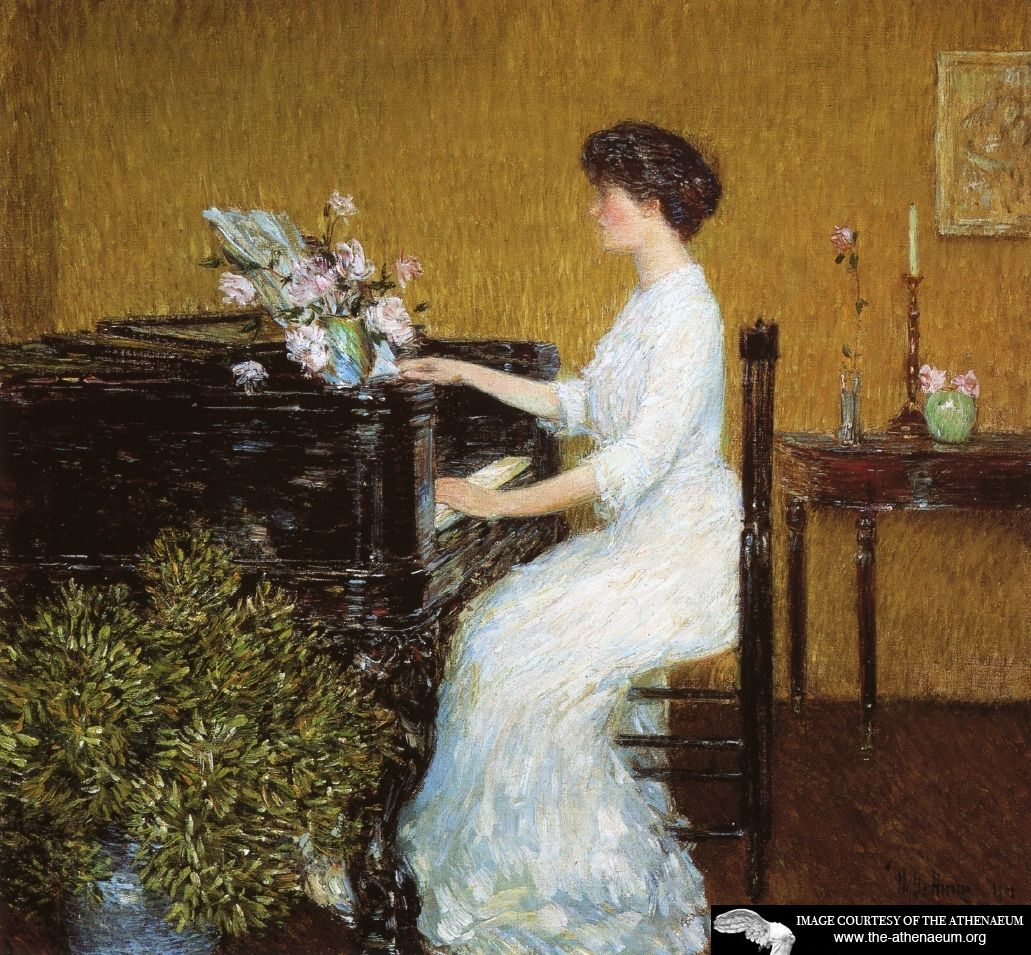 """""""At the Piano"""" by Frederick Childe Hassam (1859-1935), American Impressionist painter."""