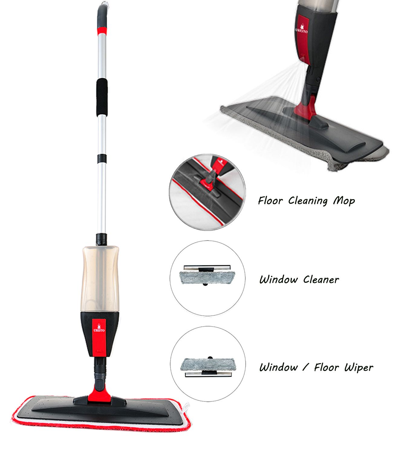 Floor Spray Mop Kit With 3 In 1 Function Cleaning Mop Set With Spray Spray Mop Dry Mop Dust Mop Microfiber Mop Pads Microfiber Mops Window Cleaner