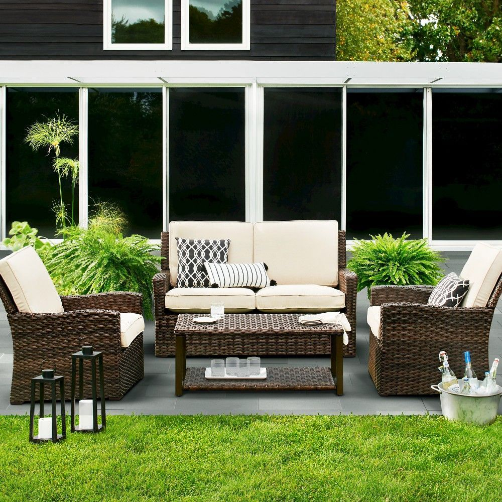 Halsted 4 Pc Wicker Patio Furniture Set Tan Threshold