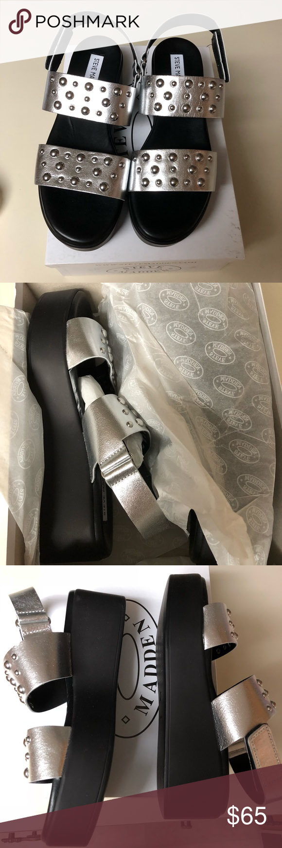 90ebc0fc6f5 NWT Steve madden 7 silver leather platforms NWT Steve madden radiate size 7  silver leather platform sandals. Details Sizing  True to…