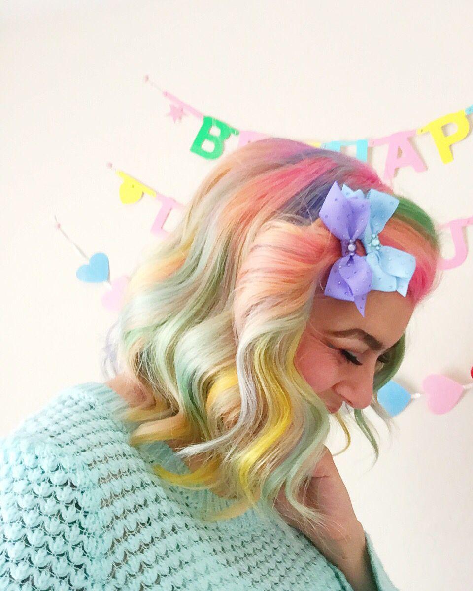 Party Rainbow Pastel Hair Beautiful Hair Pinterest Cheveux De