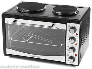 Andrew James Black 33l Electric Mini Oven Grill Convection Double Hob Hotplate