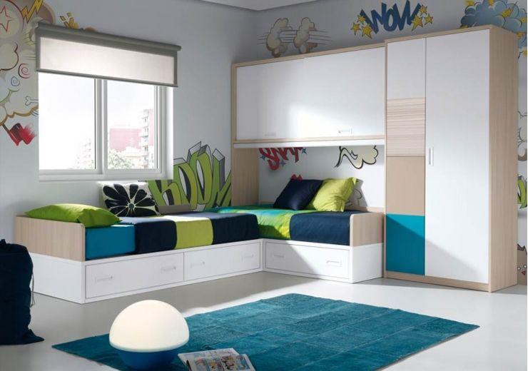 Resultado de imagen para camas en l para ni os for Habitaciones juveniles nina