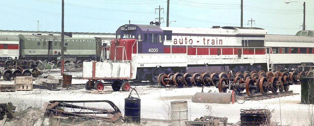 autotrain & Amtrak Auto Train at Sanford, Florida 1970's