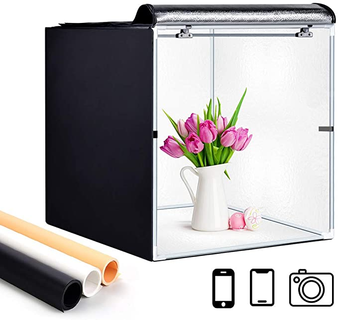 White Black Gold Deewin Photo Studio Light Box Portable Foldable 24 x 24 Inch Photography Shooting Tent Kit with Dimmable and Movable LED Lights,Carry Bag and 3 Color Backdrops