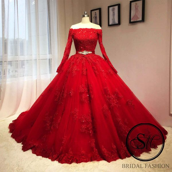 Red Ball Gown Wedding Bridal Dress Gown Full Sleeves Off Shoulders 1 058 Liked On Pol Red Lace Prom Dress Red Ball Gowns Prom Dresses Long With Sleeves,Wedding Dresses In Texas