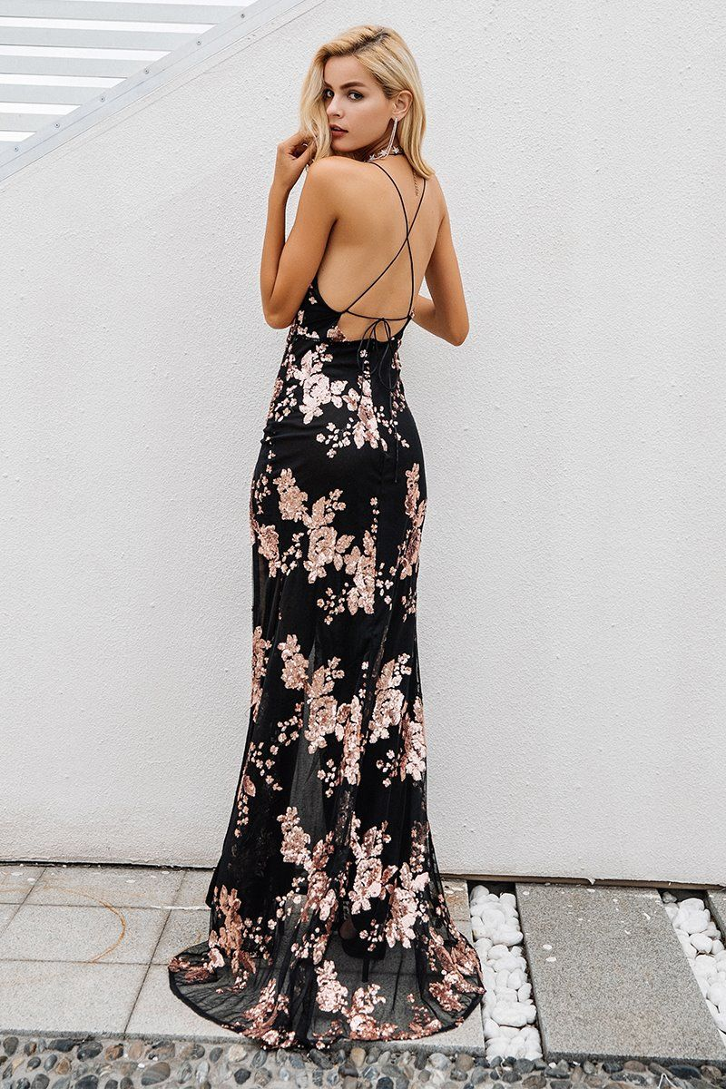 c0be3f9480 Backless Sequin High Split Long Maxi Dress in 2019