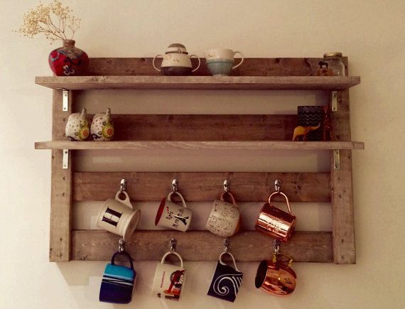 Rustic coffee rack coffee mug storage tea by for Mug racks ideas